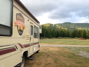 Exploring the Red Woods in California in our RV.