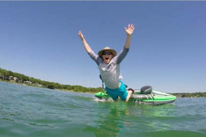 jumping out of kayak