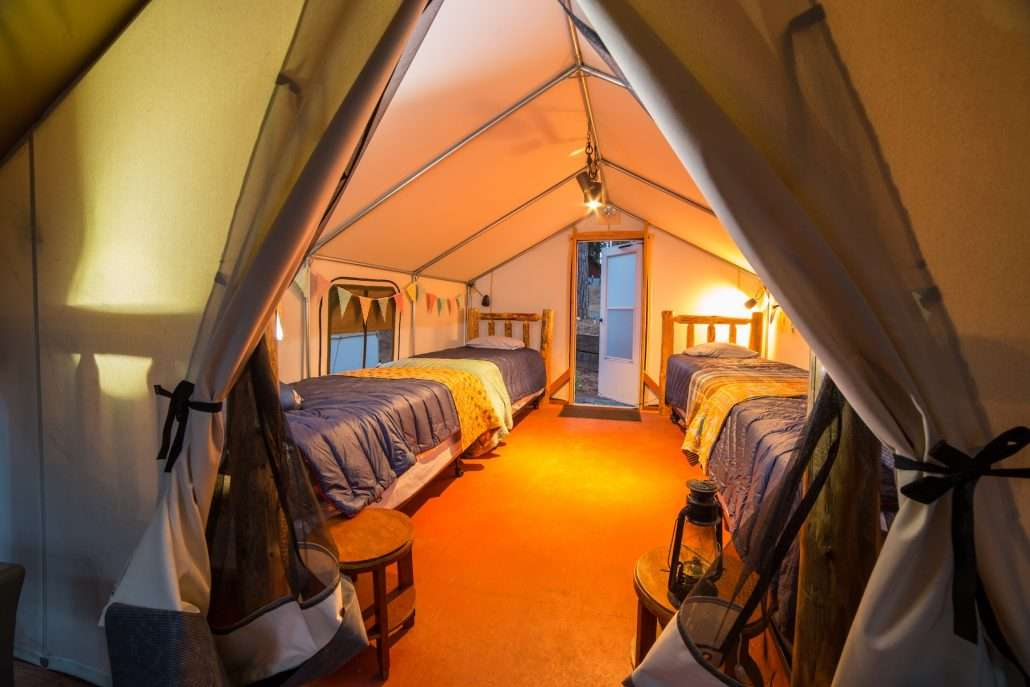 Inside one of the Glamping Tents!