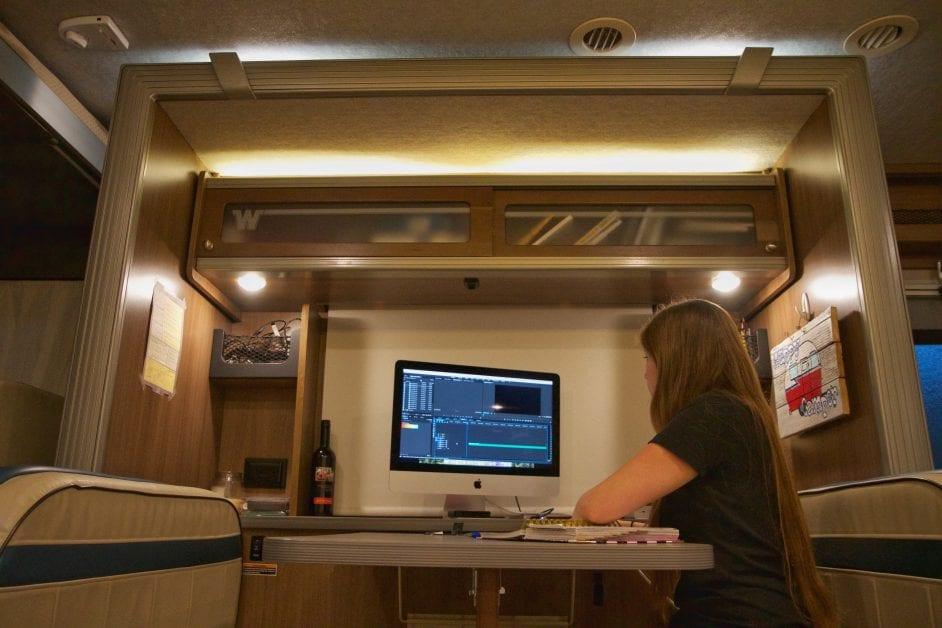 Workspace in an RV